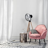 Stylish pink chair and a vintage spotlight Stock Image