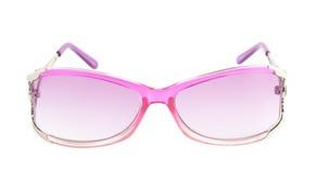 Stylish pink female glasses isolated stock image