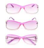 Stylish pink female glasses isolated stock images