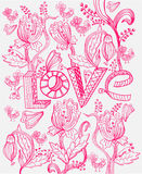 Stylish pink floral background with LOVE Royalty Free Stock Image