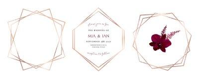 Stylish pink glitter gold geometric vector design frames. Set of golden geometry line art cards. Delicate art deco style. Diamond shaped wedding invitation stock illustration