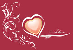 Stylish pink heart on the dark red background. Illustration Stock Photography
