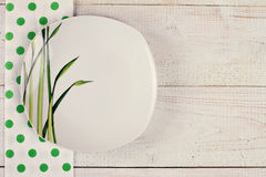 Stylish plate  on white rustic wooden background. Restaurant menu design concept. Vintage image Stock Images