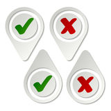 Stylish pointing checkmark stickers Stock Photo