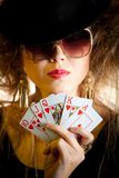 Stylish poker player Stock Photo
