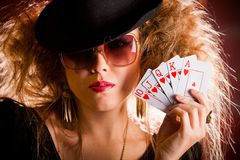 Stylish poker player Royalty Free Stock Photos