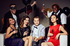 Stylish Portrait of Cheerful Friends stock images