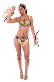 Stylish pose of samba dancer. Full length of woman wearing a samba costume Stock Image