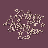 Stylish poster for Happy New Year 2015 celebration. Happy New Year 2015 poster, banner or flyer with beautiful text on stars decorated purple background Stock Image
