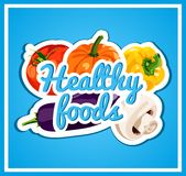 The stylish poster with a set of vector vegetables. Healthy foods. Fresh and healthy food. Diet. Bright. Royalty Free Stock Photography