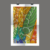 Stylish presentation of wall poster, magazine cover, design paper print template. Folder zentangle design content Stock Photography