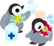 The illustration of pretty penguin baby. The stylish pretty penguin baby which was hurt Royalty Free Stock Images