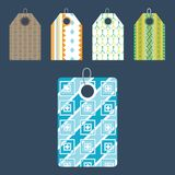Stylish price clothes tag with pattern sale card stickers collection paper blank business promotion badge vector Stock Photography