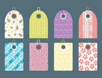 Stylish price clothes tag with pattern sale card stickers collection paper blank business promotion badge vector Royalty Free Stock Photos