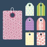 Stylish price clothes tag with pattern sale card stickers collection paper blank business promotion badge vector Stock Images
