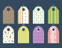 Stylish price clothes tag with pattern sale card stickers collection paper blank business promotion badge vector. Stylish price clothes tag with pattern clothing Stock Photography