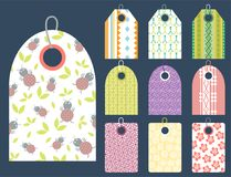 Stylish price clothes tag with pattern sale card stickers collection paper blank business promotion badge vector. Stylish price clothes tag with pattern clothing Stock Photo