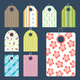 Stylish price clothes tag with pattern sale card stickers collection paper blank business promotion badge vector Royalty Free Stock Photography
