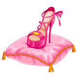 Stylish princess shoe. Placed on an ornate pillow Stock Photos