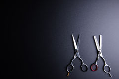 Stylish Professional Barber Scissors, Hair Cutting and Thinning stock photos