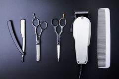 Stylish Professional Barber Scissors, Hair Cutting and Thinning Royalty Free Stock Photo