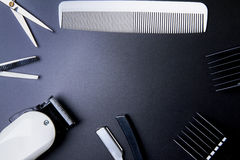 Stylish Professional Barber Scissors, Hair Cutting and Thinning Stock Photography