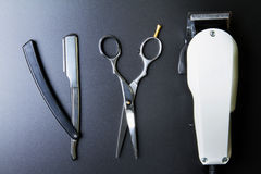 Stylish Professional Barber Scissors, Hair Cutting and Thinning Royalty Free Stock Images
