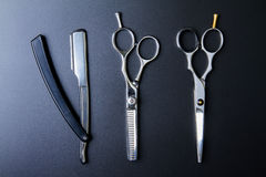 Stylish Professional Barber Scissors, Hair Cutting and Thinning Royalty Free Stock Photography