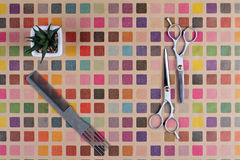 Stylish Professional Hair Cutting and Thinning Scissors on colorful background. Hairdresser salon concept. Haircut accessories, fl Royalty Free Stock Image