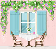 Stylish Provence street cafe exterior: window, table and chairs. Vector illustration. Stylish Provence street cafe exterior: window, table and chairs. Flat vector illustration