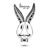 Stylish rabbit with mustaches. Vector hand drawing hipster art. Royalty Free Stock Images