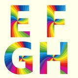 Stylish Rainbow Alphabet. E F G H. Stylish Rainbow Alphabet. Colorful your Education. Alphabet E F G H Stock Photography