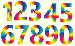 Stylish Rainbow Number 1 to 10. Stylish Rainbow Alphabet. Colorful your Education. Number 1 to 10 Stock Image