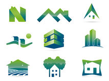 Stylish real estate design elements. Set of nine real estate vector elements. Easily editable with global color swatches Stock Illustration