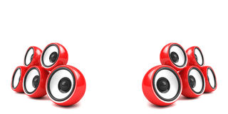 Stylish red audio speakers Stock Photo