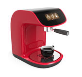 Stylish red coffee machine with touch screen Royalty Free Stock Photo