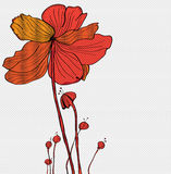 Stylish red floral background, hand drawn flowers Stock Photos