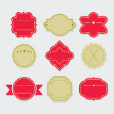 Stylish red and green empty template labels and tags set Stock Photos