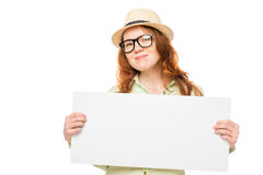 Stylish red-haired girl holding a poster Royalty Free Stock Photos