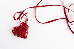 Stylish red heart with ribbons, isolated on white background, va Stock Images