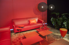 Stylish red living room Stock Photography