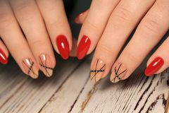 stylish red manicure royalty free stock photo