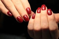 stylish red manicure stock image