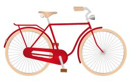 Stylish red men`s retro bike. With light, on a white background vector illustration