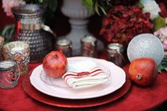 Stylish red table set for wedding party Stock Image