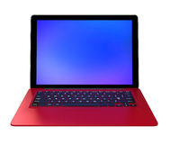 Stylish red ultra slim laptop computer.  Royalty Free Stock Images