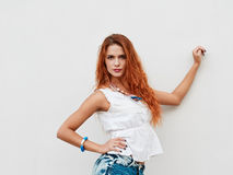 Stylish redheaded woman Royalty Free Stock Images