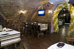Stylish restaurant. Interior of restaurant with stylish furniture Stock Photos