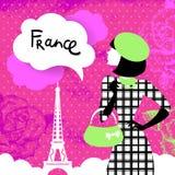 Stylish retro background with shopping woman Royalty Free Stock Image