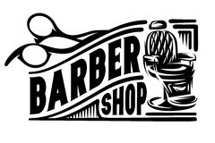 Stylish retro badge with scissors and armchair for barbershop.  royalty free illustration